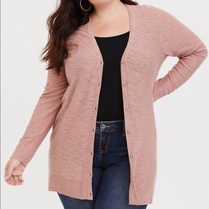 Torrid Blush Button Front Boyfriend Cardigan